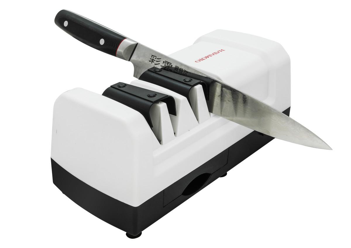 Точилка электрическая Hatamoto, угол заточки 15 градусов, двухэтапнаяEDS-H198Точилка электрическая Hatamoto. Острый угол заточки 15 градусов - специально для японских ножей! Двухэтапная, оснащена двумя алмазными дисками для грубой и тонкой заточки.