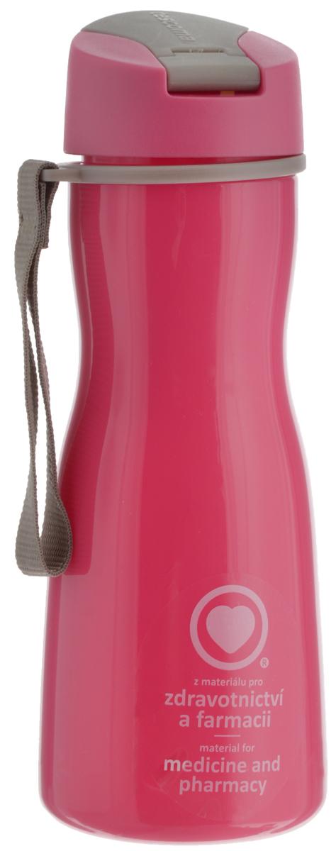 Бутылка для воды Tescoma Purity, цвет: розовый, серый, 500 мл891980.19Стильная бутылка для воды Tescoma Purity, изготовленная из высококачественного пластика, оснащена съемным текстильным ремешком и крышкой с силиконовым уплотнителем, которая плотно и герметично закрывается, сохраняя свежесть и изначальную температуру напитка. Изделие прекрасно подойдет для использования в жаркую погоду: вода долго сохраняет первоначальные свойства и вкусовые качества. При необходимости в бутылку можно наливать витаминизированные напитки, фруктовые соки, чай или протеиновые коктейли. Такую бутылку можно без опаски положить в рюкзак, закрепить на поясе или велосипедной раме. Она пригодится как на тренировках, так и в походах или просто на прогулке. Бутылку разрешено кипятить и мыть в посудомоечной машине. Изделие можно использовать в холодильнике и микроволновой печи. Ремешок и крышку не рекомендуется мыть в посудомоечной машине. Диаметр горлышка бутылки: 5 см. Высота бутылки (без учета крышки): 18,7 см. Длина ремешка: 11 см.