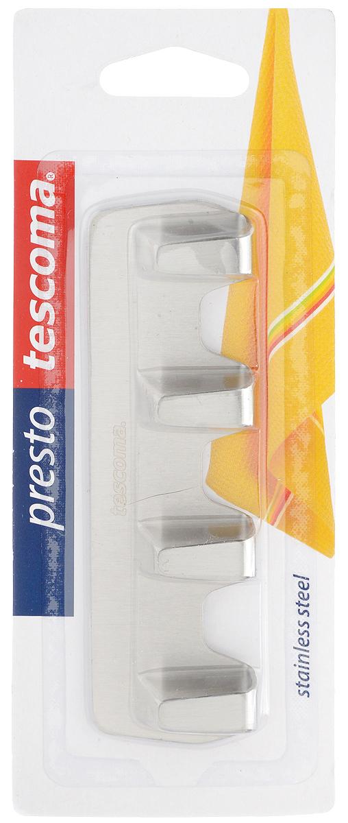 Крючок Tescoma Presto. 420847420847Крючки Tescoma Presto выполнены из нержавеющей стали и предназначены для размещения на стене. Изделие отлично подойдет для подвешивания кухонных принадлежностей: полотенец, рукавиц, прихваток и других мелких предметов. Самоклеящиеся крючки легко прикреплять и удобно использовать, после снятия не оставляют следов на поверхности. Размер изделия: 12 х 3,5 х 1,3 см.