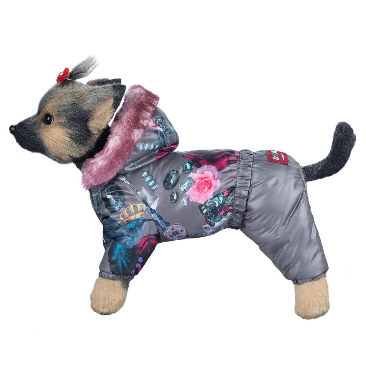 Комбинезон для собак Dogmoda Гламур, для девочки. Размер 4 (XL)DM-160296-4Зимний комбинезон для собак Dogmoda Гламурr предназначен для собачек женского пола отлично подойдет для прогулок в зимнее время года. Комбинезон изготовлен из полиэстера, защищающего от ветра и снега, с утеплителем из синтепона, который сохранит тепло даже в сильные морозы, а на подкладке используется искусственный мех, который обеспечивает отличный воздухообмен. Комбинезон с капюшоном застегивается на кнопки, благодаря чему его легко надевать и снимать. Капюшон украшен искусственным мехом и не отстегивается. Низ рукавов и брючин оснащен внутренними резинками, которые мягко обхватывают лапки, не позволяя просачиваться холодному воздуху. На пояснице комбинезон затягивается на шнурок-кулиску. Благодаря такому комбинезону простуда не грозит вашему питомцу.