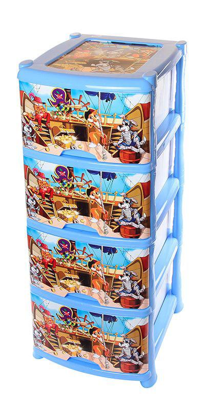 Комод Violet Пираты, 4-х секционный, 40 х 47 х 94 см0352Универсальный комод с 4 выдвижными ящиками выполнен из экологически чистого пластика. Идеально подходит для хранения игрушек и других хозяйственных предметов. Достаточно вместительный, но в то же время компактный. Можно сократить количество ярусов по желанию. Поставляется в разобранном виде. Максимальная нагрузка на 1 ящик комода равна 12 кг.