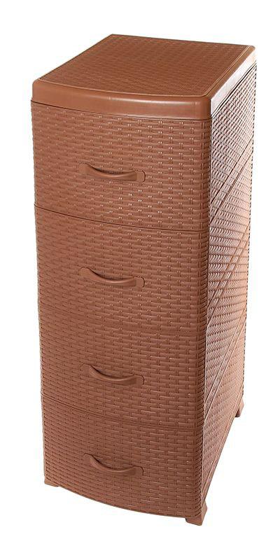 Комод Violet Ротанг, 4-х секционный, цвет: коричневый, 40 х 46 х 94 см0357/17Универсальный комод с 4 выдвижными ящиками выполнен из экологически чистого пластика. Идеально подходит для хранения игрушек и других хозяйственных предметов. Достаточно вместительный, но в то же время компактный. Можно сократить количество ярусов по желанию. Поставляется в разобранном виде. Максимальная нагрузка на 1 ящик комода равна 12 кг.