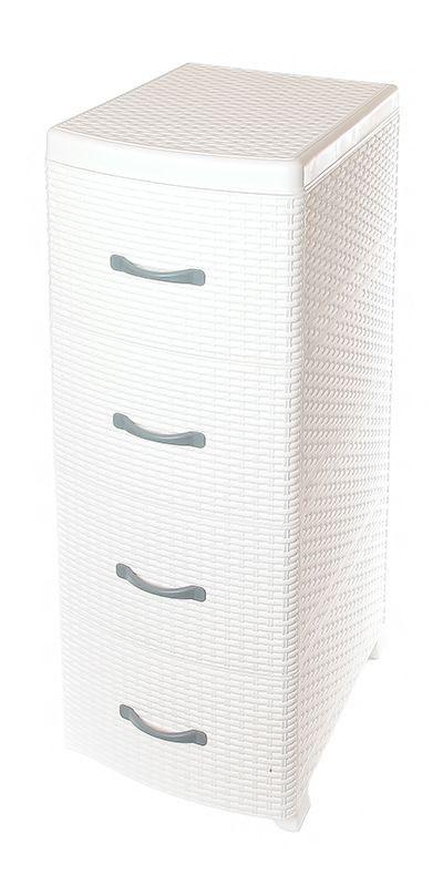 Комод Violet Ротанг, 4-х секционный, цвет: белый, 40 х 46 х 95 см0357/6Универсальный комод с 4 выдвижными ящиками выполнен из экологически чистого пластика. Идеально подходит для хранения игрушек и других хозяйственных предметов. Достаточно вместительный, но в то же время компактный. Можно сократить количество ярусов по желанию. Поставляется в разобранном виде. Максимальная нагрузка на 1 ящик комода равна 12 кг.