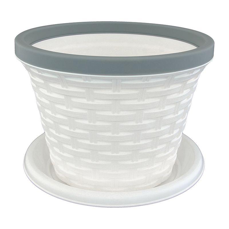 Кашпо Violet Ротанг, с поддоном, цвет: белый, 1,1 л32111/6Классическое кашпо, выполненное из пластика, прекрасно подойдет для выращивания трав и цветов. Имитирующее плетение из ротанга кашпо имеет поддон. Объём кашпо: 1,1 л.