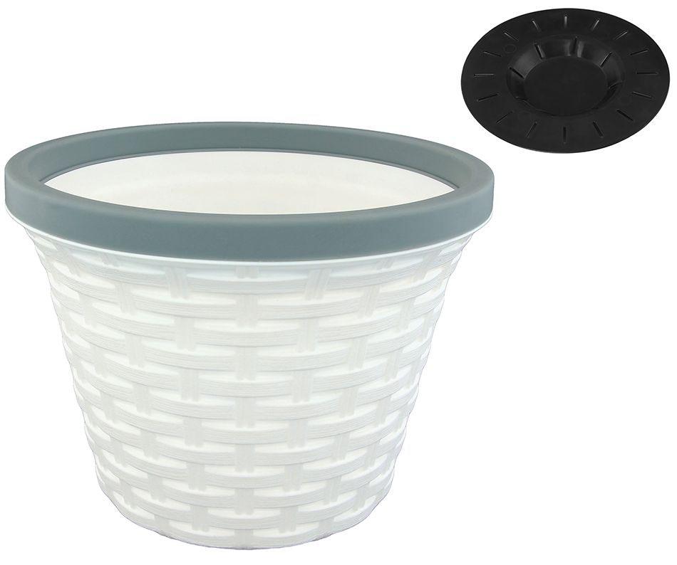 Кашпо Violet Ротанг, с дренажной системой, цвет: белый, 4,8 л32480/6Круглое кашпо Violet Ротанг изготовлено из высококачественного пластика и оснащено дренажной системой для быстрого отведения избытка воды при поливе. Изделие прекрасно подходит для выращивания растений и цветов в домашних условиях. Объем: 4,8 л.