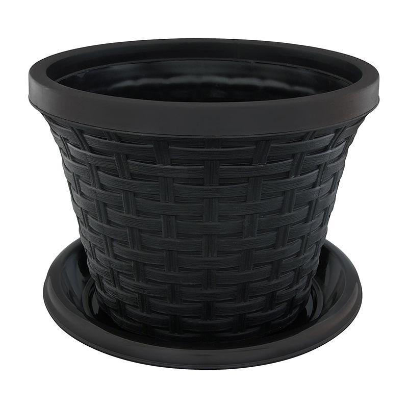 Кашпо Violet Ротанг, с поддоном, цвет: черный, 3,4 л32341/7Классическое кашпо, выполненное из пластика, прекрасно подойдет для выращивания трав и цветов. Имитирующее плетение из ротанга кашпо имеет поддон. Объём кашпо: 3,4 л.