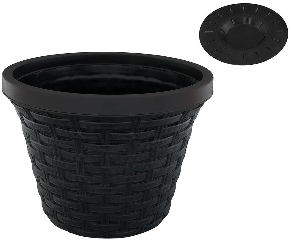 Кашпо Violet Ротанг, с дренажной системой, цвет: черный, 8,8 л32880/7Круглое кашпо Violet Ротанг изготовлено из высококачественного пластика и оснащено дренажной системой для быстрого отведения избытка воды при поливе. Изделие прекрасно подходит для выращивания растений и цветов в домашних условиях. Объем: 8,8 л.