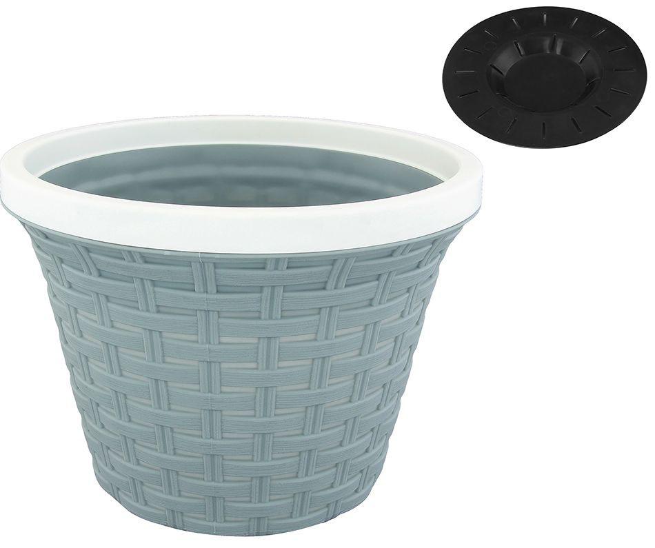 Кашпо Violet Ротанг, с дренажной системой, цвет: серый, 1,1 л32110/8Круглое кашпо Violet Ротанг изготовлено из высококачественного пластика и оснащено дренажной системой для быстрого отведения избытка воды при поливе. Изделие прекрасно подходит для выращивания растений и цветов в домашних условиях. Объем: 1,1 л.