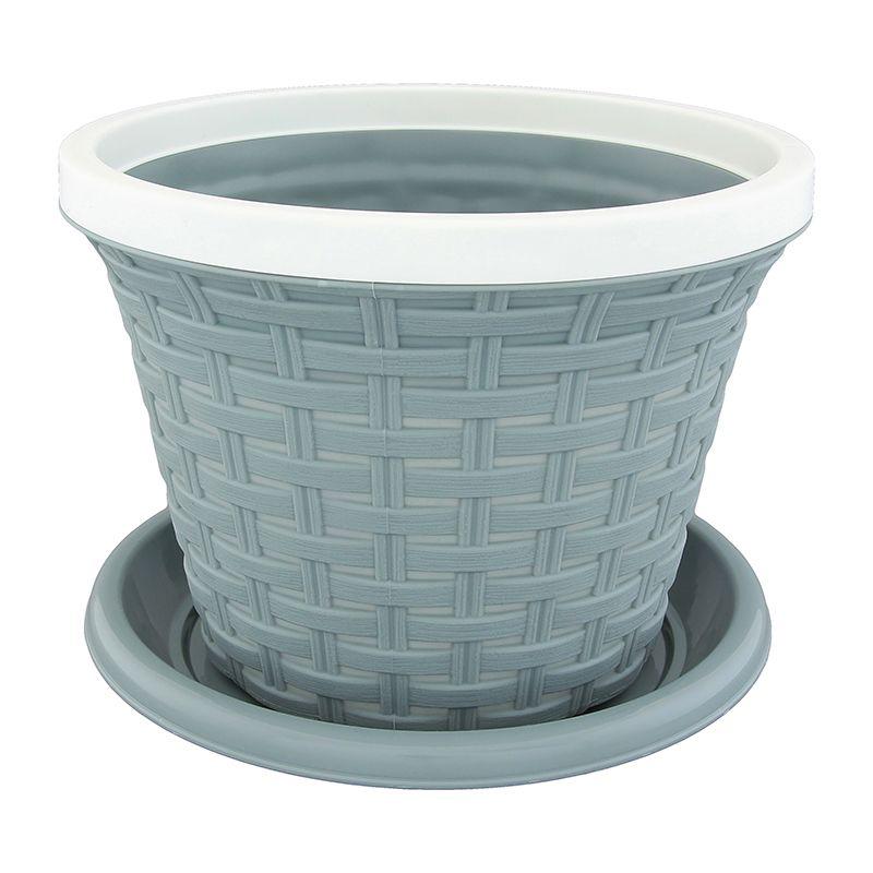 Кашпо Violet Ротанг, с поддоном, цвет: серый, 4,8 л32481/8Классическое кашпо, выполненное из пластика, прекрасно подойдет для выращивания трав и цветов. Имитирующее плетение из ротанга кашпо имеет поддон. Объём кашпо: 4,8 л.
