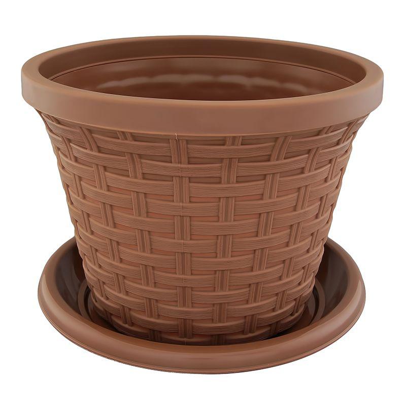 Кашпо Violet Ротанг, с поддоном, цвет: какао, 2,2 л32221/17Классическое кашпо, выполненное из пластика, прекрасно подойдет для выращивания трав и цветов. Имитирующее плетение из ротанга кашпо имеет поддон. Объём кашпо: 2,2 л.