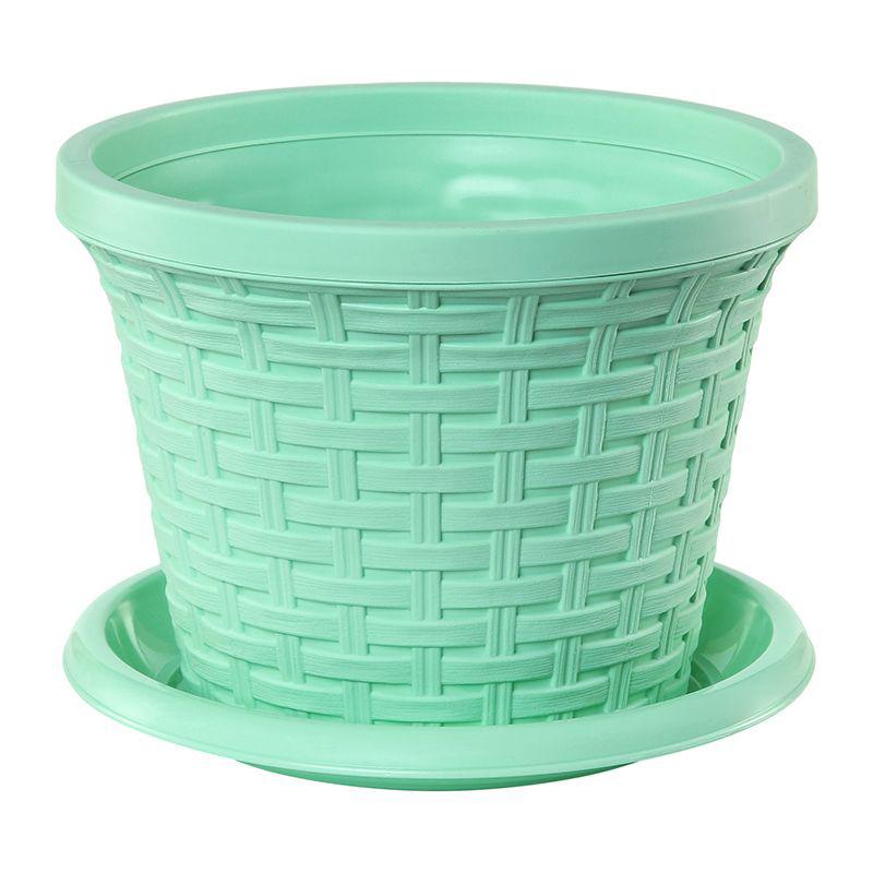 Кашпо Violet Ротанг, с поддоном, цвет: зеленый, 1,1 л32111/18Классическое кашпо, выполненное из пластика, прекрасно подойдет для выращивания трав и цветов. Имитирующее плетение из ротанга кашпо имеет поддон. Объём кашпо: 1,1 л.