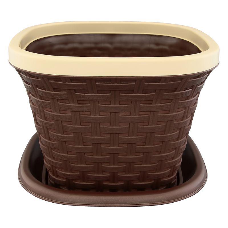 Кашпо квадратное Violet Ротанг, с поддоном, цвет: темно-коричневый, 9,8 л33981/1Квадратное кашпо, выполненное из пластика, прекрасно подойдет для выращивания трав и цветов. Имитирующее плетение из ротанга кашпо имеет поддон. Объём кашпо: 9,8 л.