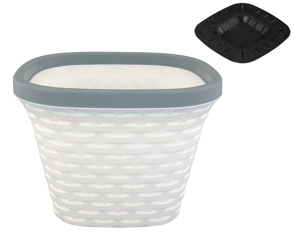 Кашпо квадратное Violet Ротанг, с дренажем, цвет: белый, 1,3 л. 33130/633130/6Очень красивое пластиковое кашпо, имитирующее плетение из ротанга, украсит Ваш интерьер. В комплекте поддон для отведения излишней воды. Практичное, сохранит в чистоте поверхности, на которых стоит кашпо.