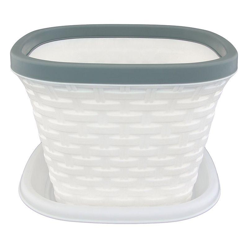 Кашпо квадратное Violet Ротанг, с поддоном, цвет: белый, 1,3 л33131/6Квадратное кашпо, выполненное из пластика, прекрасно подойдет для выращивания трав и цветов. Имитирующее плетение из ротанга кашпо имеет поддон. Объём кашпо: 1,3 л.