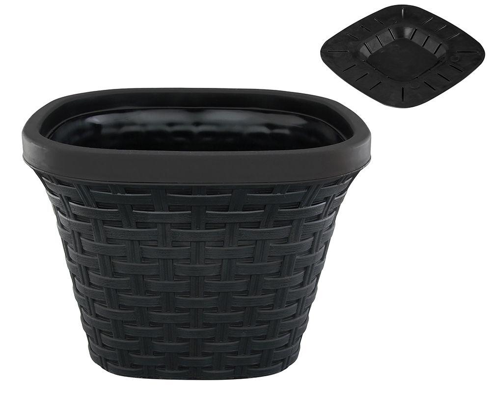 Кашпо квадратное Violet Ротанг, с дренажной системой, цвет: черный, 1,3 л33130/7Квадратное кашпо Violet Ротанг изготовлено из высококачественного пластика и оснащено дренажной системой для быстрого отведения избытка воды при поливе. Изделие прекрасно подходит для выращивания растений и цветов в домашних условиях. Объем: 1,3 л.