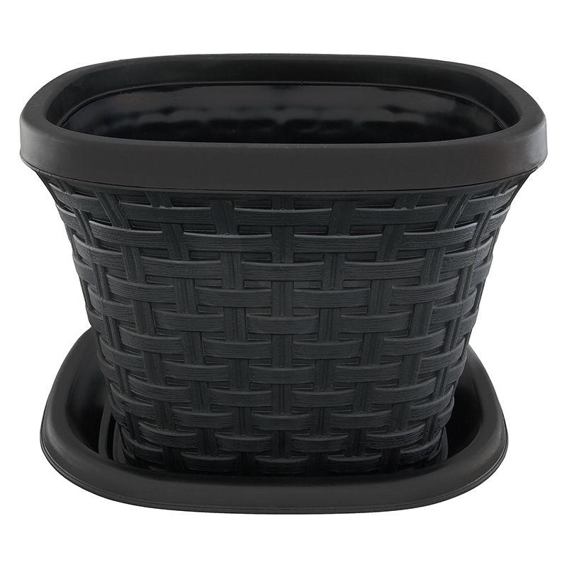Кашпо квадратное Violet Ротанг, с поддоном, цвет: черный, 1,3 л33131/7Квадратное кашпо, выполненное из пластика, прекрасно подойдет для выращивания трав и цветов. Имитирующее плетение из ротанга кашпо имеет поддон. Объём кашпо: 1,3 л.