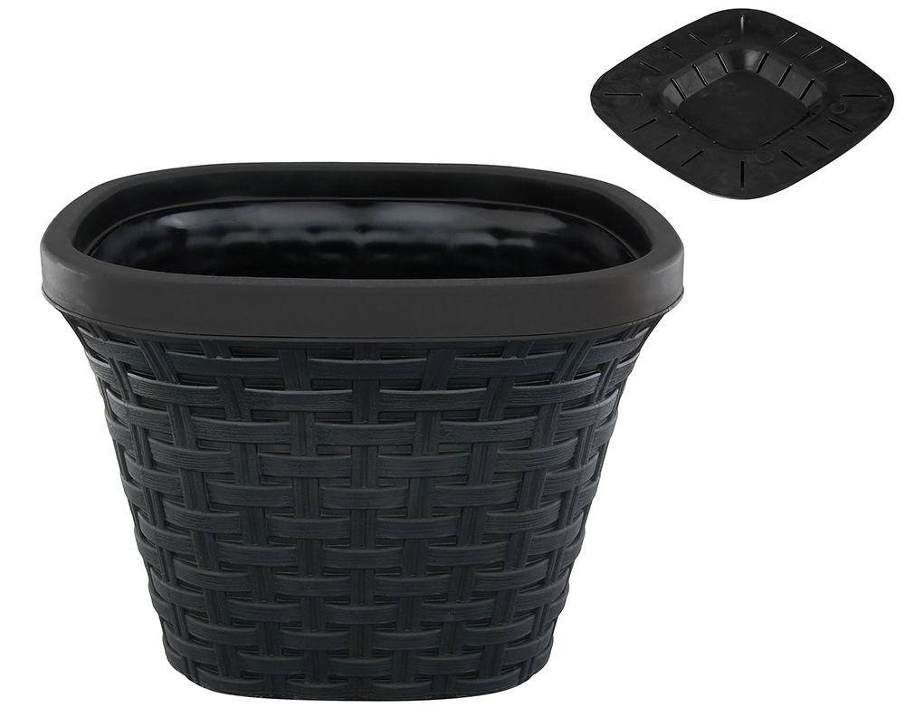 Кашпо квадратное Violet Ротанг, с дренажной системой, цвет: черный, 9,8 л33980/7Квадратное кашпо Violet Ротанг изготовлено из высококачественного пластика и оснащено дренажной системой для быстрого отведения избытка воды при поливе. Изделие прекрасно подходит для выращивания растений и цветов в домашних условиях. Объем: 9,8 л.