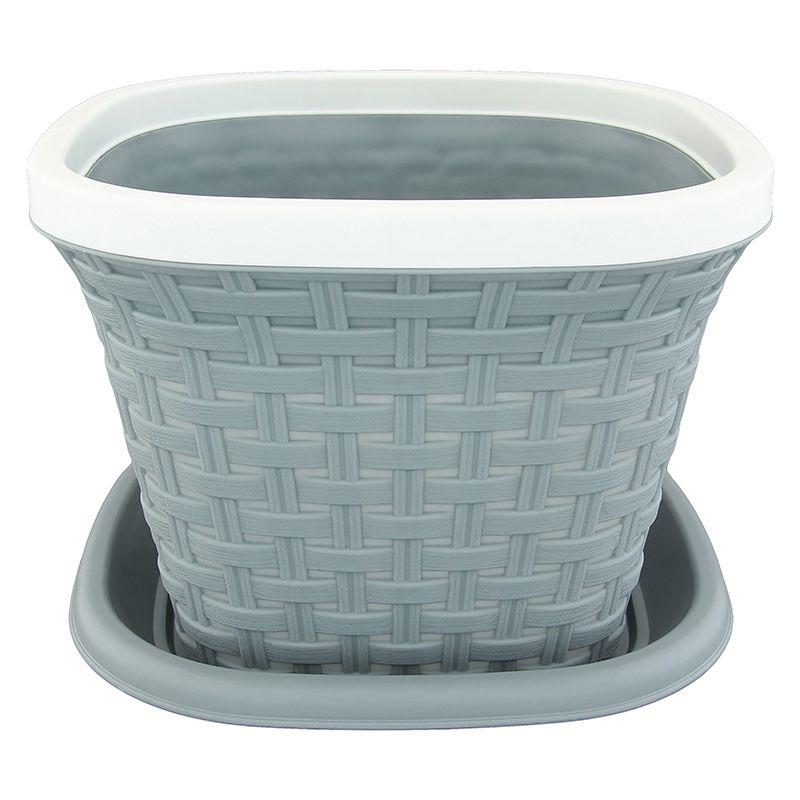 Кашпо квадратное Violet Ротанг, с поддоном, цвет: серый, 3,8 л33381/8Квадратное кашпо, выполненное из пластика, прекрасно подойдет для выращивания трав и цветов. Имитирующее плетение из ротанга кашпо имеет поддон. Объём кашпо: 3,8 л.