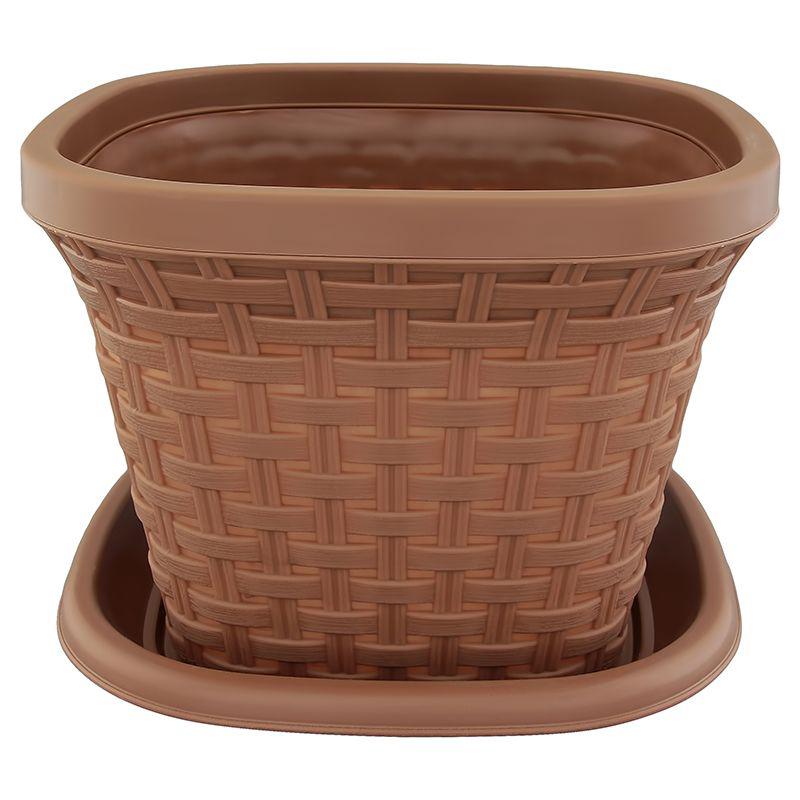 Кашпо квадратное Violet Ротанг, с поддоном, цвет: какао, 1,3 л33131/17Квадратное кашпо, выполненное из пластика, прекрасно подойдет для выращивания трав и цветов. Имитирующее плетение из ротанга кашпо имеет поддон. Объём кашпо: 1,3 л.
