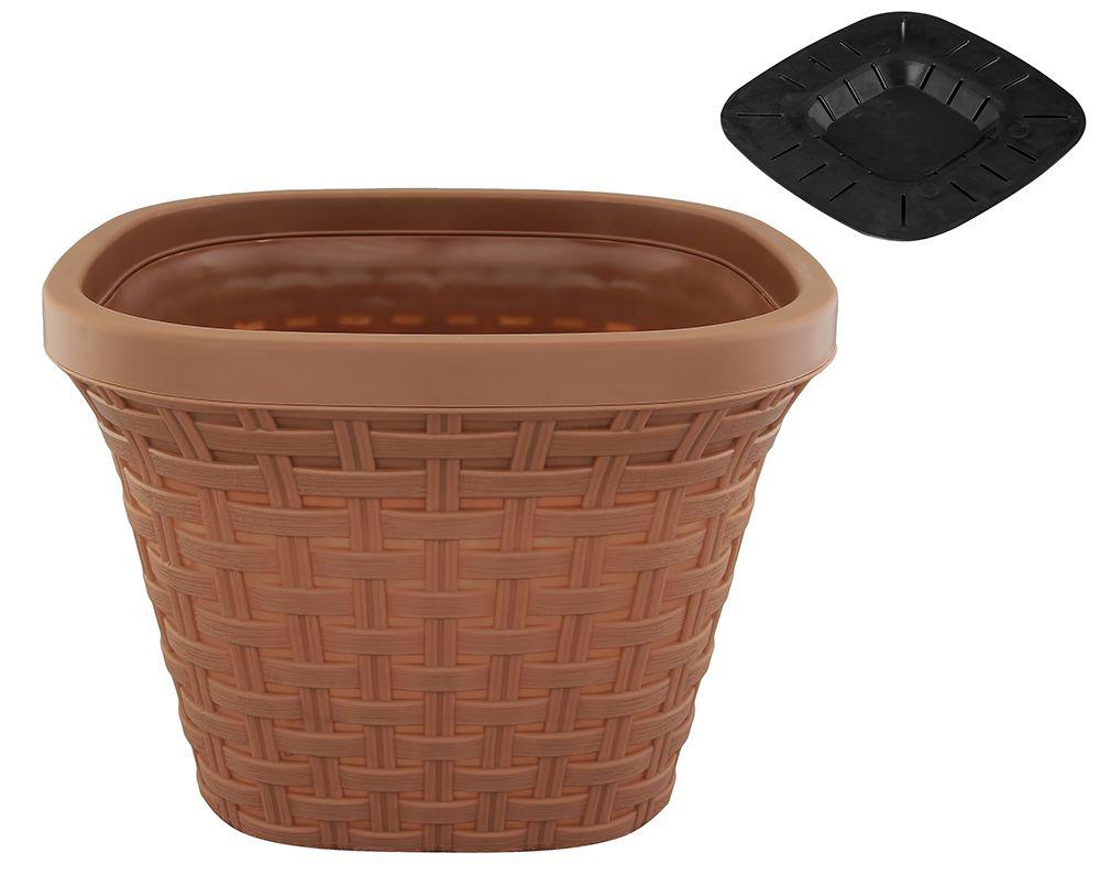 Кашпо квадратное Violet Ротанг, с дренажной системой, цвет: какао, 7,5 л33750/17Квадратное кашпо Violet Ротанг изготовлено из высококачественного пластика и оснащено дренажной системой для быстрого отведения избытка воды при поливе. Изделие прекрасно подходит для выращивания растений и цветов в домашних условиях. Объем: 7,5 л.