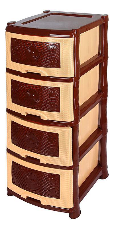 Комод Violet Ромашка, 4-х секционный, цвет: коричневый, 40 х 46 х 94 см0354Универсальный комод с 4 выдвижными ящиками выполнен из экологически чистого пластика. Идеально подходит для хранения игрушек и других хозяйственных предметов. Достаточно вместительный, но в то же время компактный. Можно сократить количество ярусов по желанию. Поставляется в разобранном виде. Максимальная нагрузка на 1 ящик комода равна 12 кг.