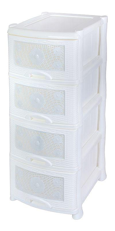 Комод Violet Ромашка, 4-х секционный, цвет: белый, 40 х 46 х 94 см0354Универсальный комод с 4 выдвижными ящиками выполнен из экологически чистого пластика. Идеально подходит для хранения игрушек и других хозяйственных предметов. Достаточно вместительный, но в то же время компактный. Можно сократить количество ярусов по желанию. Поставляется в разобранном виде. Максимальная нагрузка на 1 ящик комода равна 12 кг.