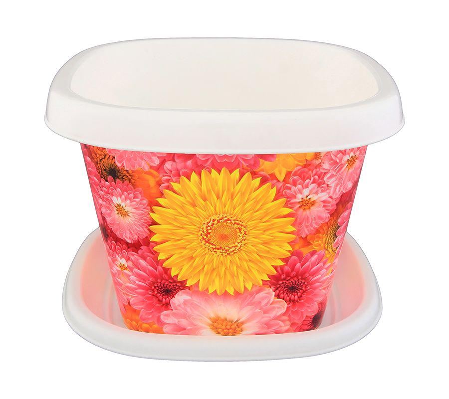 Кашпо квадратное Violet Хризантемы, с поддоном, 1,2 л31151/97Квадратное кашпо, выполненное из пластика, прекрасно подойдет для выращивания трав и цветов. Поддон прилагается. Объём кашпо: 1,2 л.