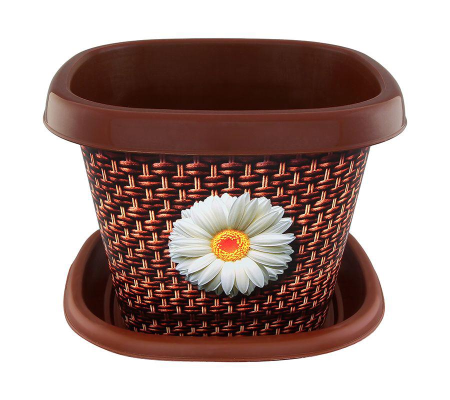 Кашпо квадратное Violet Плетенка, с поддоном, 3,5 л31451/80Квадратное кашпо, выполненное из пластика, прекрасно подойдет для выращивания трав и цветов. Поддон прилагается. Объём кашпо: 3,5 л.