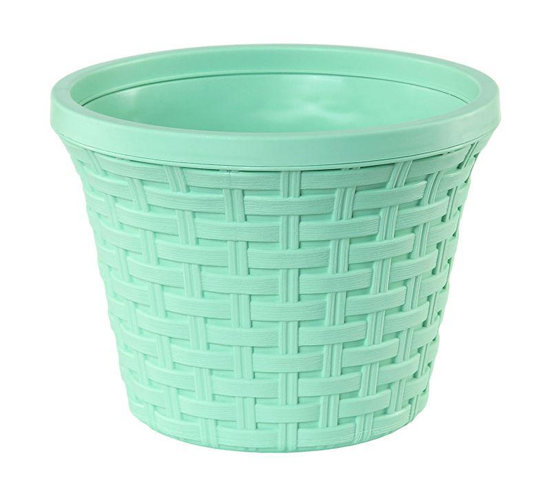 Кашпо Violet Ротанг, с дренажной системой, цвет: зеленый, 8,8 л32880/18Круглое кашпо Violet Ротанг изготовлено из высококачественного пластика и оснащено дренажной системой для быстрого отведения избытка воды при поливе. Изделие прекрасно подходит для выращивания растений и цветов в домашних условиях. Объем: 8,8 л.