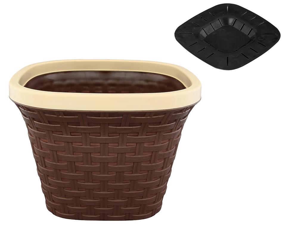 Кашпо квадратное Violet Ротанг, с дренажной системой, цвет: темно-коричневый, 7,5 л33750/1Квадратное кашпо Violet Ротанг изготовлено из высококачественного пластика и оснащено дренажной системой для быстрого отведения избытка воды при поливе. Изделие прекрасно подходит для выращивания растений и цветов в домашних условиях. Объем: 7,5 л.