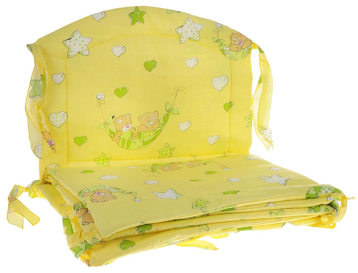 Фея Борт комбинированный Спящие мишки цвет желтый1045_желтый/мишка в гамакеКомбинированный бортик в кроватку Фея Спящие мишки выполнен из высококачественных материалов. Бортик защитит малыша от сквозняков, а когда ребенок подрастет и начнет вставать самостоятельно, предохранит его от ударов при возможных падениях. Малыш с удовольствием будет разглядывать забавные рисунки, красочный бортик в кроватку выполняет эстетическую функцию, делая внешний вид кроватки еще прекраснее. Бортик обеспечит изолированность и уют внутри кроватки для малыша во время его отдыха. В комплект входят 2 борта размером 120 см х 38 см, и по одному борту размером 60 см х 38 см и 60 см х 47 см. Общая длина бортов: 360 см.