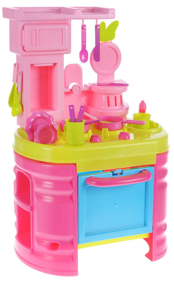Bildo Игрушечная модульная кухня МинниB 8401Игрушечная модульная кухня Bildo Минни включает в себя элементы для сборки кухни и 15 игровых предметов. Такой набор понравится любой малышке. Ведь теперь она сможет все приготовить для себя и для своих друзей. В духовом шкафчике с открывающейся дверцей, девочка сможет испечь пирожные, на плите пожарить, а в микроволновке разогреть обед. Игровая кухня, также оборудована раковиной для «мытья» грязной посуды, полками для хранения чашек и крючками для подвешивания кухонных принадлежностей. К тому же, благодаря набору, малышка научится правильно распределять кухонные принадлежности и создавать уют на кухне. Набор выполнен из прочного и безопасного материала, который даже если упадет на пол, не разобьется, а значит, вам не нужно тревожиться о безопасности ребенка. С таким набором Bildo Минни ваша малышка не соскучится.
