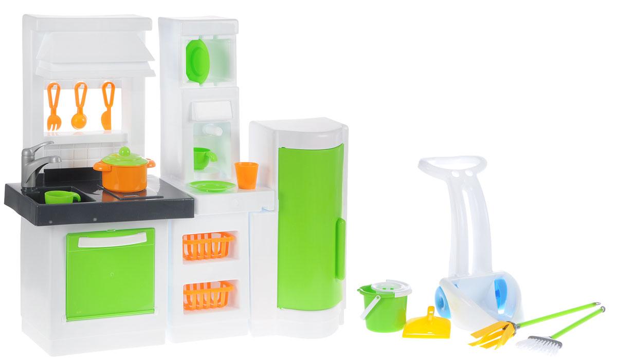 Palau Toys Игрушечная модульная кухня с набором хозяюшки07/1584Игрушечная модульная кухня Palau Toys станет любимой игрушкой любой юной хозяюшки. Все элементы набора изготовлены из прочного и безопасного для ребенка материала. Данная модель обязательно должна быть у каждой хозяйки, потому что включает в себя не только кухню со множеством элементов, но и набор для поддержания чистоты! Кухня состоит из трех модулей. Аксессуары выполнены очень реалистично: духовку можно открывать, на варочную поверхность размещать кастрюлю, в кофеварке имитировать приготовление кофе, а в раковину можно сложить всю грязную посуду. Дополнительную правдоподобность игре придадут столовые приборы и посуда из набора, которые можно повесить на крючки или расставить на специальных полочках. Захватывающая сюжетно-ролевая игра не только развлекает ребенка, но и производит такие практические качества, как ловкость и слаженность движений рук, координацию, развивает мелкую моторику пальцев рук, двигательную активность, а также трудолюбие, заботливость и гостеприимство....