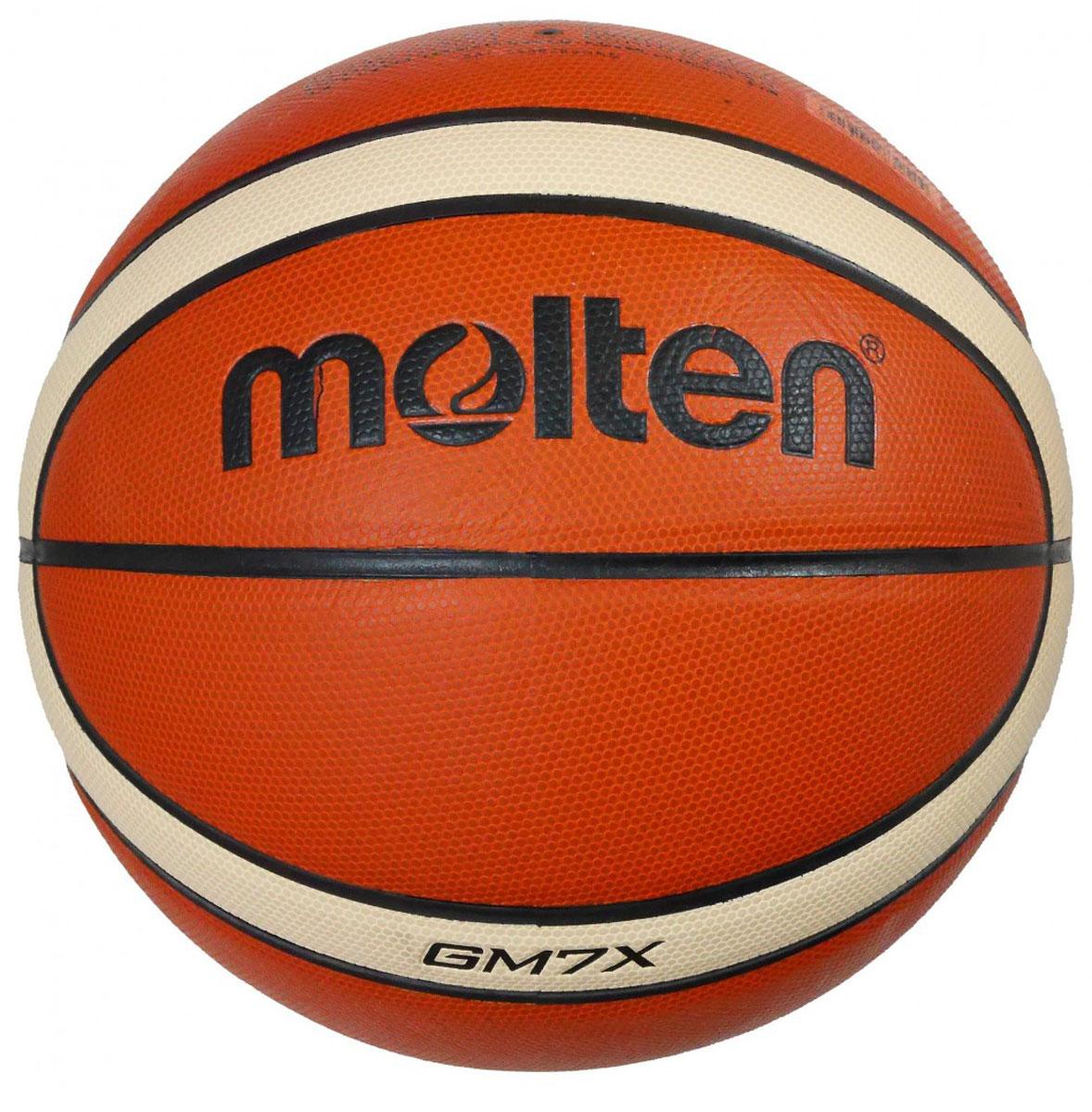 Мяч баскетбольный Molten. Размер 7. BGM7XBGM7XПрофессиональный баскетбольный мяч, созданный Molten совместно с FIBA, является официальным мячом чемпионата EuroBasket 2015. Мяч обладает великолепными техническими и игровыми характеристиками: Мяч состоит из 12 панелей, выполненных из натуральной кожи премиум класса, благодаря чему обладает высокими износостойкими характеристиками. Специальная конструкция и вспененная система, а также параллельные плоские «пупырышки» обеспечивают ощущение однородности и отличные стабильность, контроль как при подборе мяча, так и в других игровых ситуациях. Мяч обладает большей контактной поверхностью и шероховатостью, что обеспечивает отличное сцепление и удобство для игрока. Мячи из натуральной кожи являются самыми прочными. Обеспечивают лучшие игровые характеристики. Мяч отбивается во время тренировок. Поверхность мяча приобретает улучшенные тактильные свойства по сравнению с поверхностью мячей из других материалов.