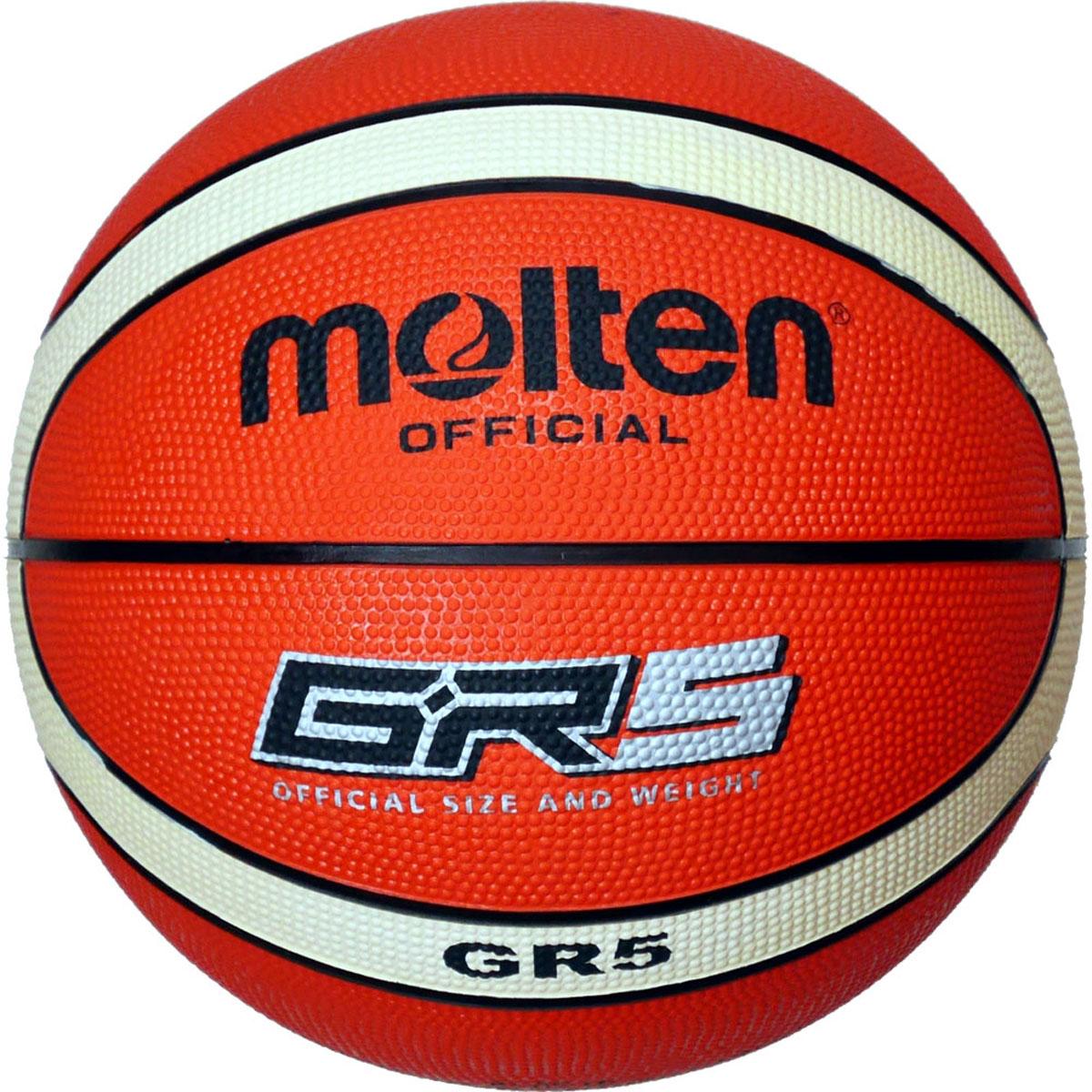 Мяч баскетбольный Molten. Размер 5. BGR5-OIBGR5-OIЛюбительский мяч в эксклюзивном 12-панельном дизайне MOLTEN. Износостойкая резина, бутиловая камера, армированная нейлоновой нитью.
