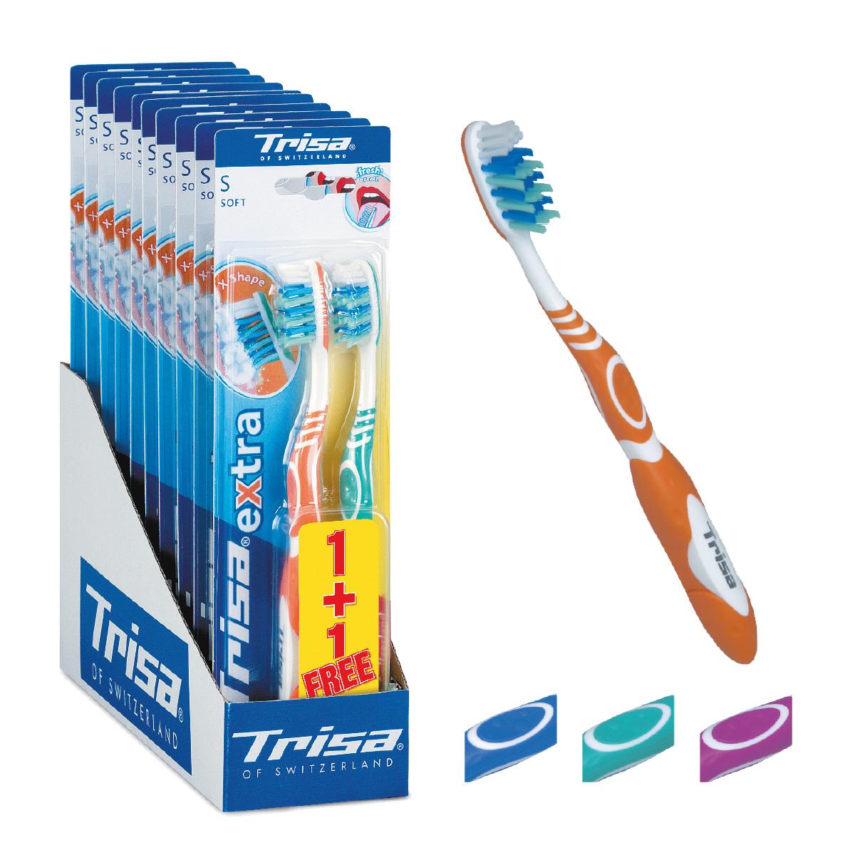Trisa зубная щётка Экстра (2в1) мягкая626430Зубная щетка Trisa Extra 2 for 1 - мягкая щетина - произведена в Швейцарии в соответствии с новейшими научными разработками. Профилактическая зубная щетка. Многоуровневая перекрестная щетина обеспечивает качественную чистку. На обратной стороне головки пластиковый скребок для языка. Удобный семейный вариант – в упаковке 2 щетки разного цвета по цене 1 щетки.