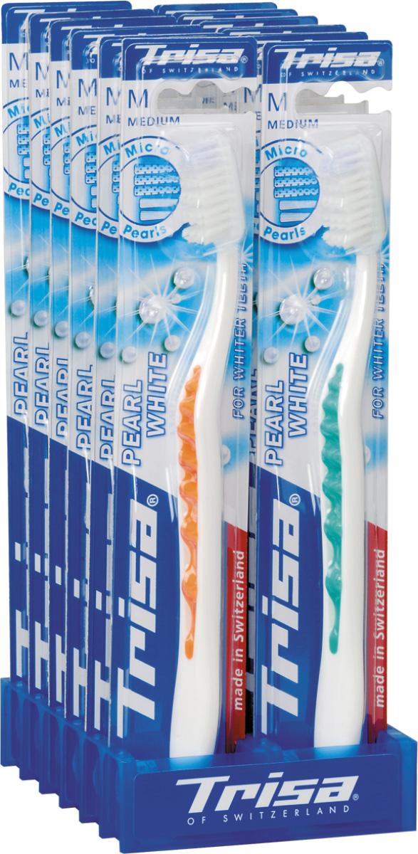 Trisa зубная щётка Перл Вайт средняя627186Зубная щетка Trisa Pearl White - щетина средней степени жесткости - произведена в Швейцарии в соответствии с новейшими научными разработками. Единственная в своем роде волнистая форма зубной щетки TRISA Pearl White обеспечивает прекрасное сцепление. Эргономичная ручка с мягкой волнистой структурой обеспечивает абсолютный комфорт и оптимальный контроль – точку опоры для большого пальца можно выбрать индивидуально. Отбеливающие щетинки с голубыми очищающими микро - жемчужинами способствуют удалению дисколорита (изменения цвета зуба), для безупречной, жемчужно-белой улыбки. Головка щетки с волнообразным «активным контуром» подстраивается под естественный профиль зубов. Перламутровая ручка придает TRISA Pearl изысканный вид. Разноуровневая щетина - для эффективного удаления налета даже в труднодоступных межзубных промежутках. Активный выступ - для чистки труднодоступных коренных зубов. Гибкий корпус регулирует давление при чистке. Элегантный функциональный дизайн.