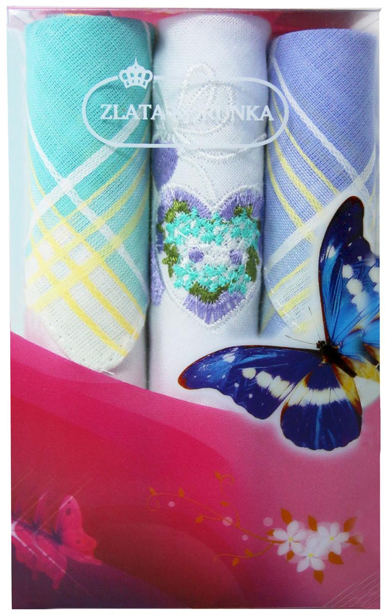 Платок носовой женский Zlata Korunka, цвет: мультиколор, 3 шт. 40423-1. Размер 28 х 28 см40423-1Платки носовые женские в упаковке по 3 шт. Носовые платки изготовлены из 100% хлопка, так как этот материал приятен в использовании, хорошо стирается, не садится, отлично впитывает влагу. Размер: 28 х 28..