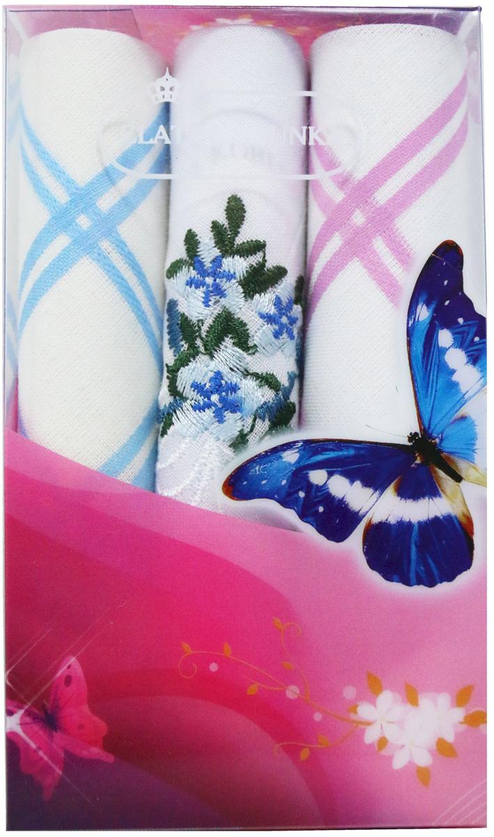 Платок носовой женский Zlata Korunka, цвет: мультиколор, 3 шт. 40423-10. Размер 28 х 28 см40423-10Платки носовые женские в упаковке по 3 шт. Носовые платки изготовлены из 100% хлопка, так как этот материал приятен в использовании, хорошо стирается, не садится, отлично впитывает влагу. Размер: 28 х 28..