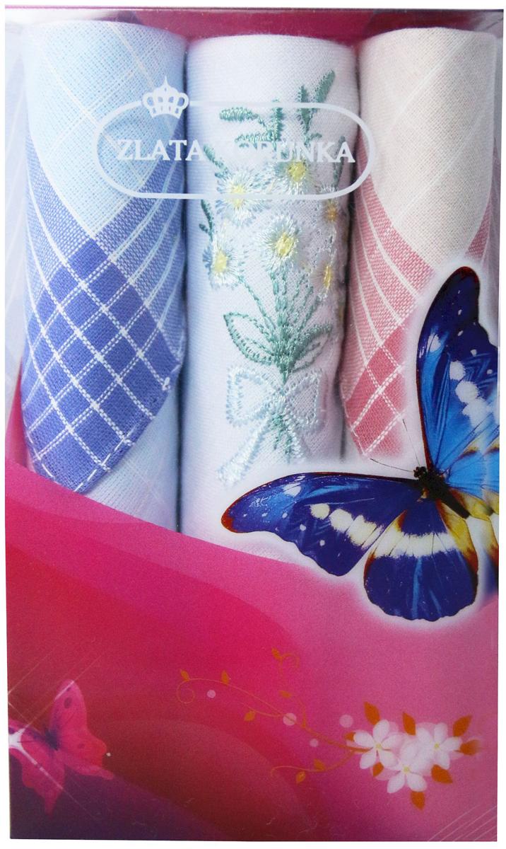 Платок носовой женский Zlata Korunka, цвет: мультиколор, 3 шт. 40423-100. Размер 28 х 28 см40423-100Платки носовые женские в упаковке по 3 шт. Носовые платки изготовлены из 100% хлопка, так как этот материал приятен в использовании, хорошо стирается, не садится, отлично впитывает влагу. Размер: 28 х 28..