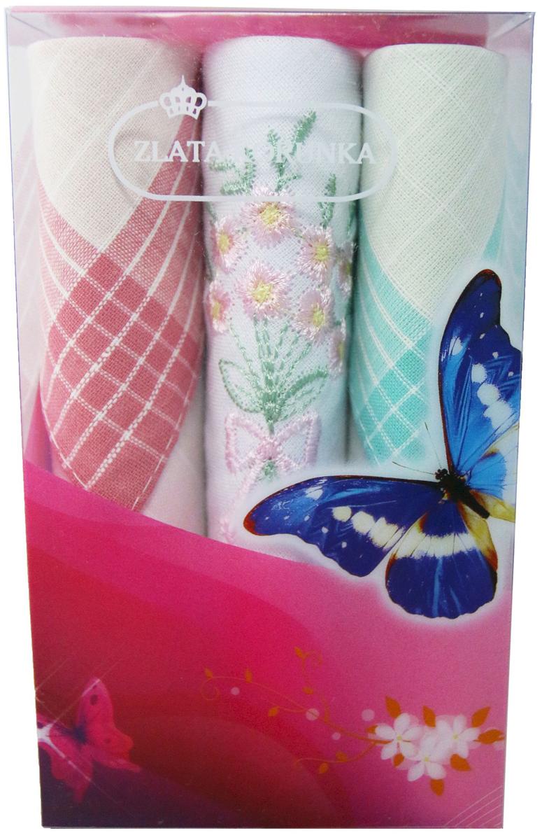 Платок носовой женский Zlata Korunka, цвет: мультиколор, 3 шт. 40423-101. Размер 28 х 28 см40423-101Платки носовые женские в упаковке по 3 шт. Носовые платки изготовлены из 100% хлопка, так как этот материал приятен в использовании, хорошо стирается, не садится, отлично впитывает влагу. Размер: 28 х 28..