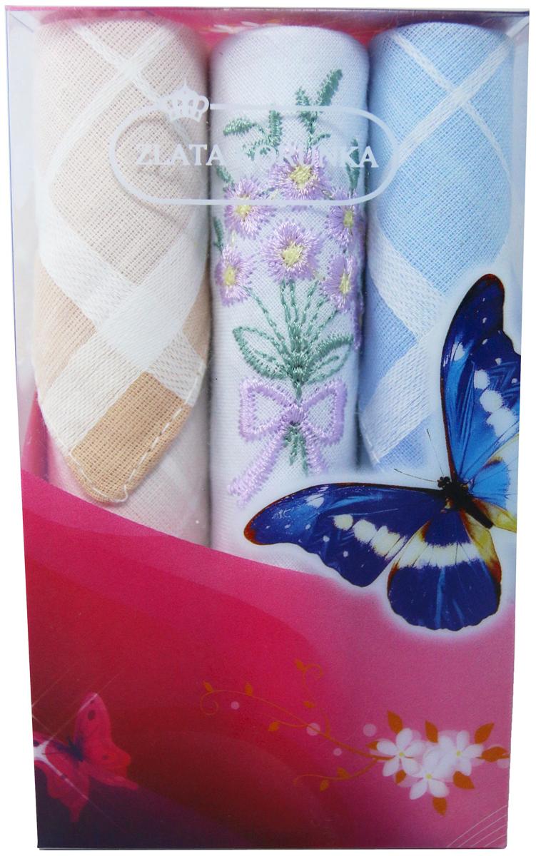 Платок носовой женский Zlata Korunka, цвет: мультиколор, 3 шт. 40423-103. Размер 28 х 28 см40423-103Платки носовые женские в упаковке по 3 шт. Носовые платки изготовлены из 100% хлопка, так как этот материал приятен в использовании, хорошо стирается, не садится, отлично впитывает влагу. Размер: 28 х 28..