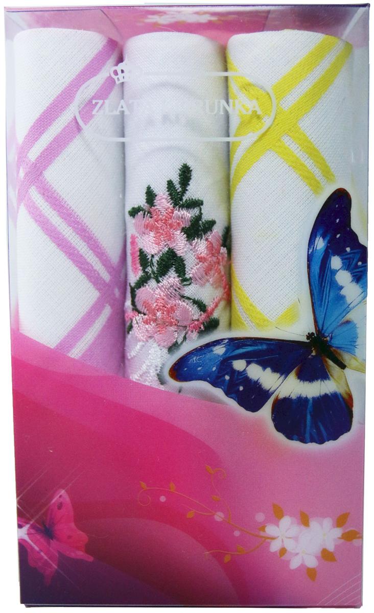 Платок носовой женский Zlata Korunka, цвет: мультиколор, 3 шт. 40423-11. Размер 28 х 28 см40423-11Платки носовые женские в упаковке по 3 шт. Носовые платки изготовлены из 100% хлопка, так как этот материал приятен в использовании, хорошо стирается, не садится, отлично впитывает влагу. Размер: 28 х 28..