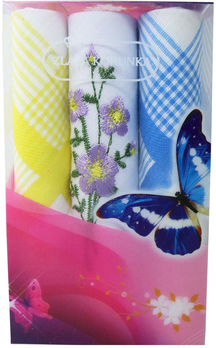 Платок носовой женский Zlata Korunka, цвет: мультиколор, 3 шт. 40423-110. Размер 28 х 28 см40423-110Платки носовые женские в упаковке по 3 шт. Носовые платки изготовлены из 100% хлопка, так как этот материал приятен в использовании, хорошо стирается, не садится, отлично впитывает влагу. Размер: 28 х 28..