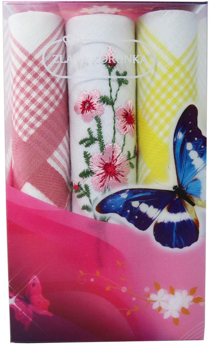 Платок носовой женский Zlata Korunka, цвет: мультиколор, 3 шт. 40423-111. Размер 28 х 28 см40423-111Платки носовые женские в упаковке по 3 шт. Носовые платки изготовлены из 100% хлопка, так как этот материал приятен в использовании, хорошо стирается, не садится, отлично впитывает влагу. Размер: 28 х 28..