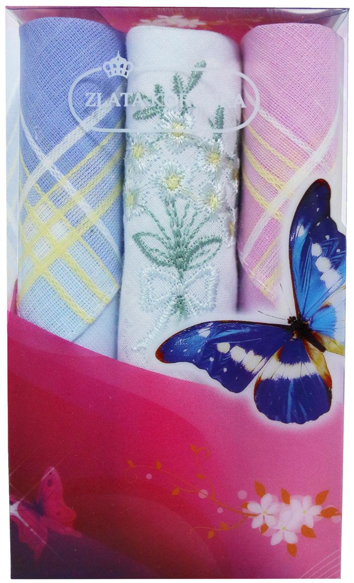 Платок носовой женский Zlata Korunka, цвет: мультиколор, 3 шт. 40423-114. Размер 28 х 28 см40423-114Платки носовые женские в упаковке по 3 шт. Носовые платки изготовлены из 100% хлопка, так как этот материал приятен в использовании, хорошо стирается, не садится, отлично впитывает влагу. Размер: 28 х 28..