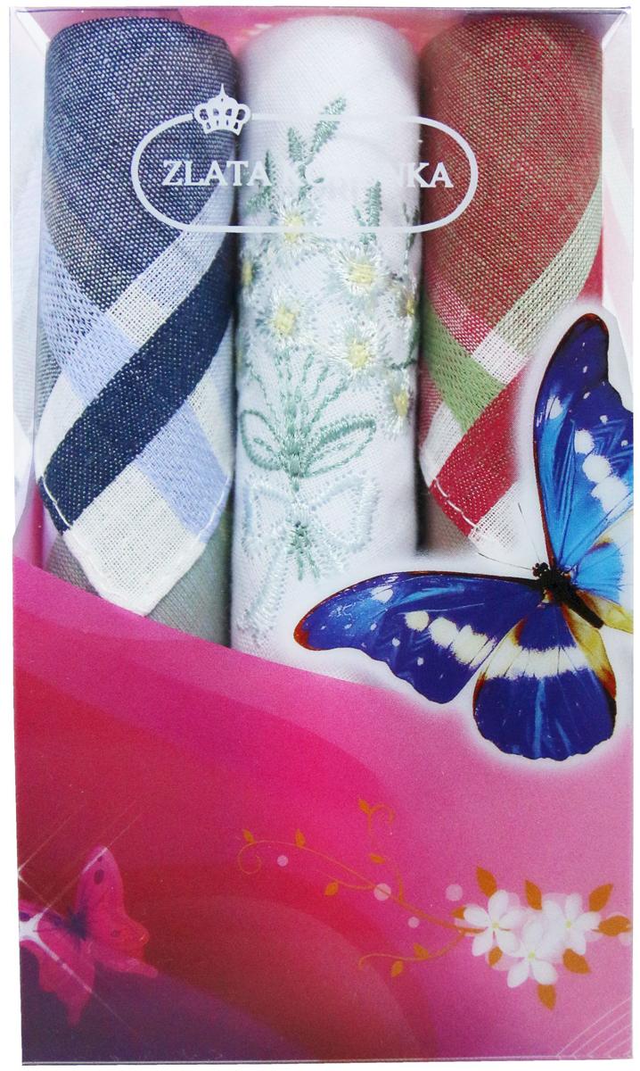 Платок носовой женский Zlata Korunka, цвет: мультиколор, 3 шт. 40423-116. Размер 28 х 28 см40423-116Платки носовые женские в упаковке по 3 шт. Носовые платки изготовлены из 100% хлопка, так как этот материал приятен в использовании, хорошо стирается, не садится, отлично впитывает влагу. Размер: 28 х 28..