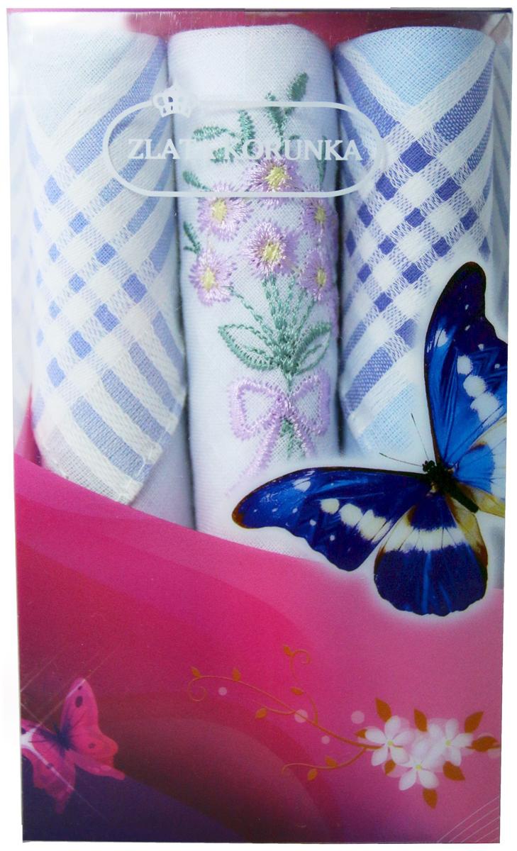 Платок носовой женский Zlata Korunka, цвет: мультиколор, 3 шт. 40423-119. Размер 28 х 28 см40423-119Платки носовые женские в упаковке по 3 шт. Носовые платки изготовлены из 100% хлопка, так как этот материал приятен в использовании, хорошо стирается, не садится, отлично впитывает влагу. Размер: 28 х 28..