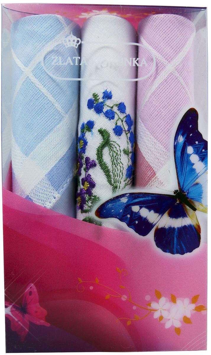 Платок носовой женский Zlata Korunka, цвет: мультиколор, 3 шт. 40423-121. Размер 28 х 28 см40423-121Платки носовые женские в упаковке по 3 шт. Носовые платки изготовлены из 100% хлопка, так как этот материал приятен в использовании, хорошо стирается, не садится, отлично впитывает влагу. Размер: 28 х 28..