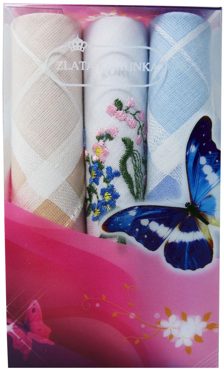 Платок носовой женский Zlata Korunka, цвет: мультиколор, 3 шт. 40423-123. Размер 28 х 28 см40423-123Платки носовые женские в упаковке по 3 шт. Носовые платки изготовлены из 100% хлопка, так как этот материал приятен в использовании, хорошо стирается, не садится, отлично впитывает влагу. Размер: 28 х 28..